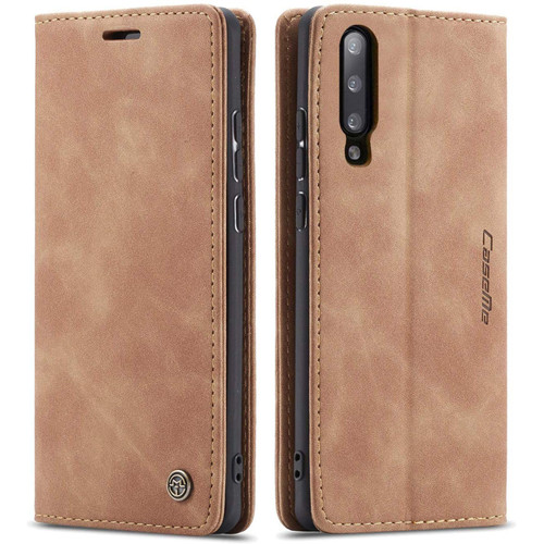 Brown Galaxy A50 CaseMe Compact Flip Classy Wallet Case - 1