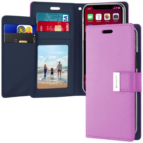 Stylish Purple iPhone 11 Pro MAX Genuine Rich Diary Wallet Card Case - 1