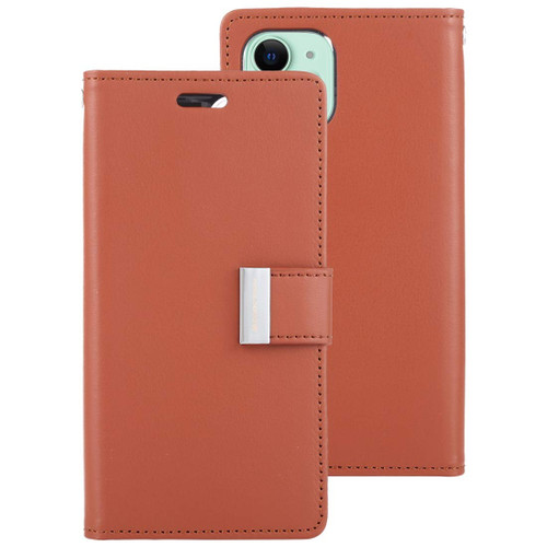 Brown iPhone 11 Pro MAX Genuine Mercury Rich Diary Wallet Card Case - 1