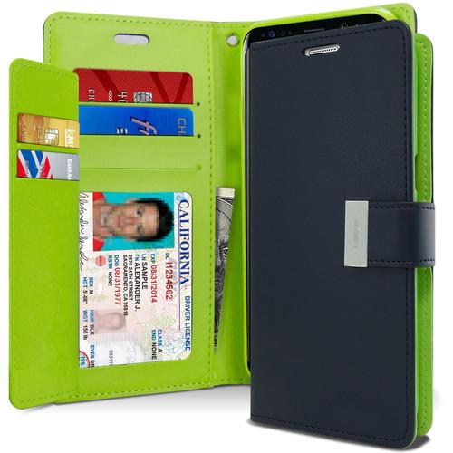 Navy Galaxy A20 Genuine Mercury Rich Diary Card Slot Wallet Case - 1