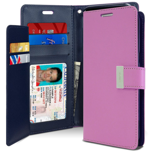 Purple Galaxy A20 Genuine Mercury Rich Diary Card Slot Wallet Case - 1
