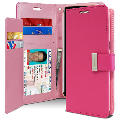 Hot Pink Galaxy A20 Genuine Mercury Rich Diary Card Slot Wallet Case - 1