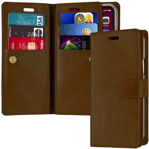Brown iPhone 11 Pro Mercury Mansoor Diary Card Holder Wallet Case - 1