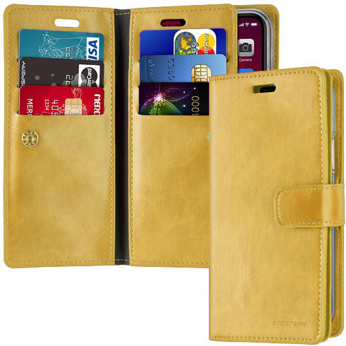 Gold iPhone 11 Pro Mercury Mansoor Diary Card Holder Wallet Case - 1