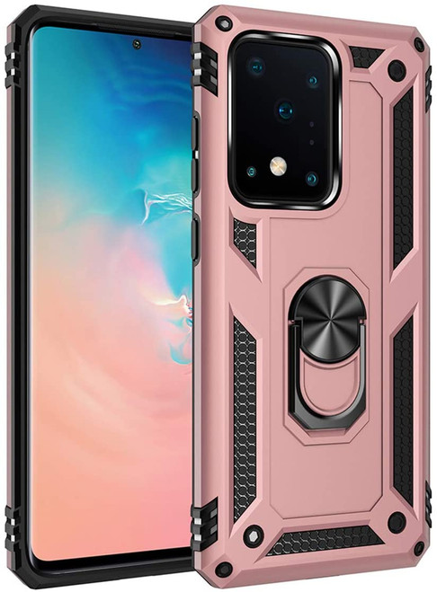 Rose Gold 360 Rotating Metal Ring Armor Stand Case For Galaxy S20 Ultra - 1