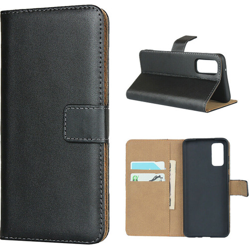Black Genuine Leather Smart Wallet Case  For Samsung Galaxy S20+ Plus - 1
