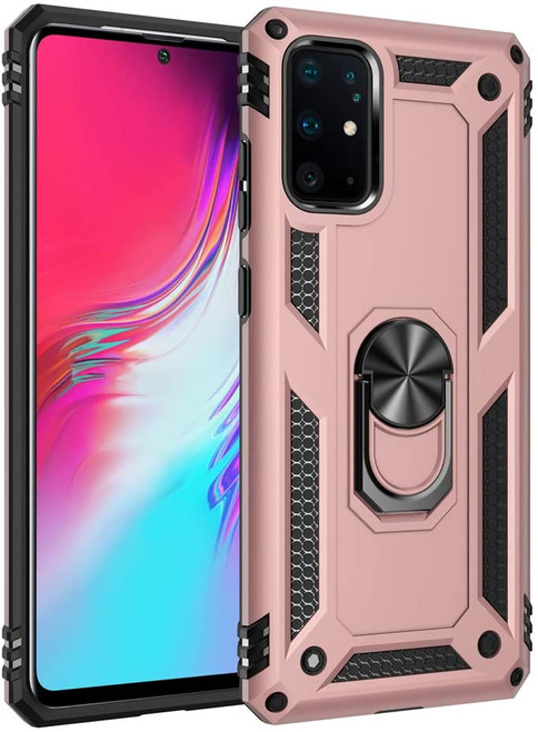 Galaxy S20+ Plus Rose Gold 360 Rotating Metal Ring Armor Stand Case - 1