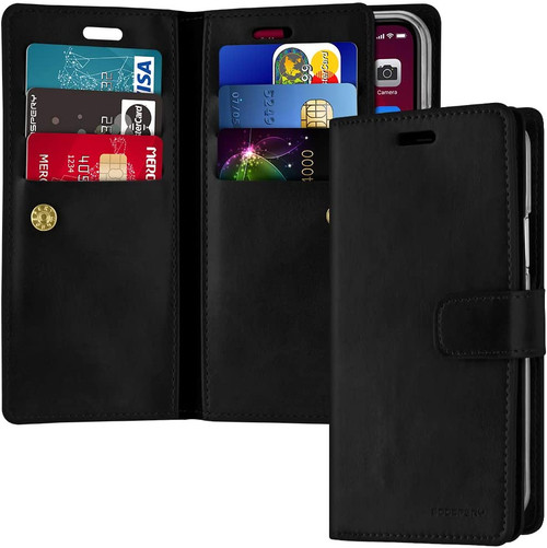 Black iPhone 11 Genuine Mercury Mansoor Diary Wallet Card Case - 1
