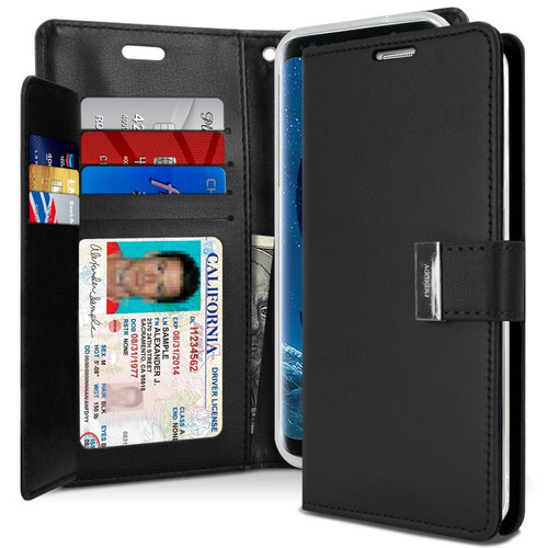 Black Galaxy S20 Genuine Mercury Rich Diary Card Slot Wallet Case - 1