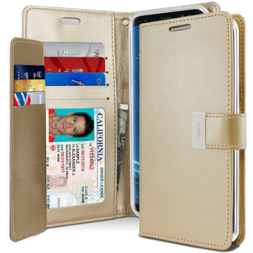 Shiny Gold Genuine Rich Diary Wallet Card Case For Galaxy S20+ Plus - 1