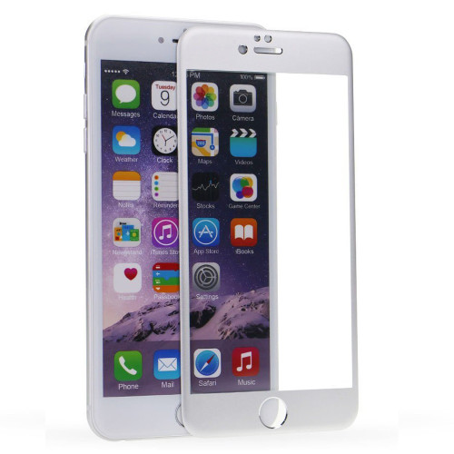 Silver iPhone 6 / 6S Metal Frame Tempered Glass Screen Guard - 1