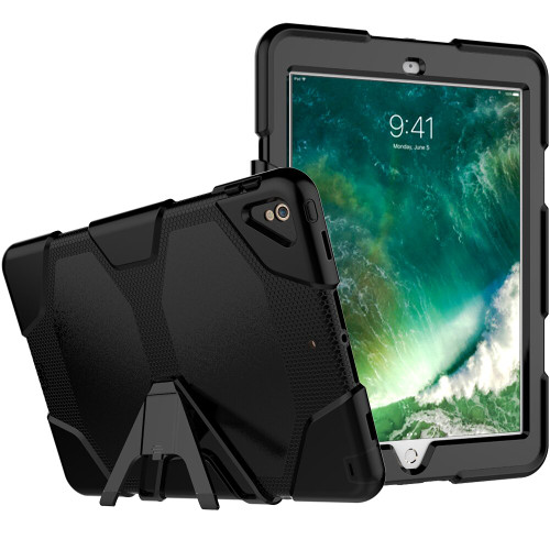 "Black Apple iPad Air 3 10.5"" 2019 Military Heavy Duty Stand Case - 1"
