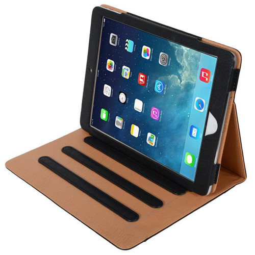 "Apple iPad Air 3 10.5"" Black & Tan Leather Wallet Stand Case - 1"