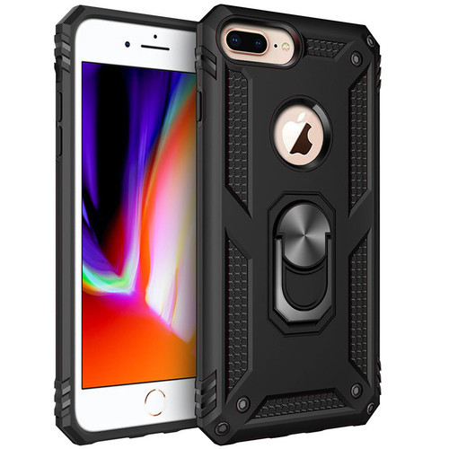 Black 360 Rotating Metal Ring Armor Stand Case for iPhone 8 Plus - 1