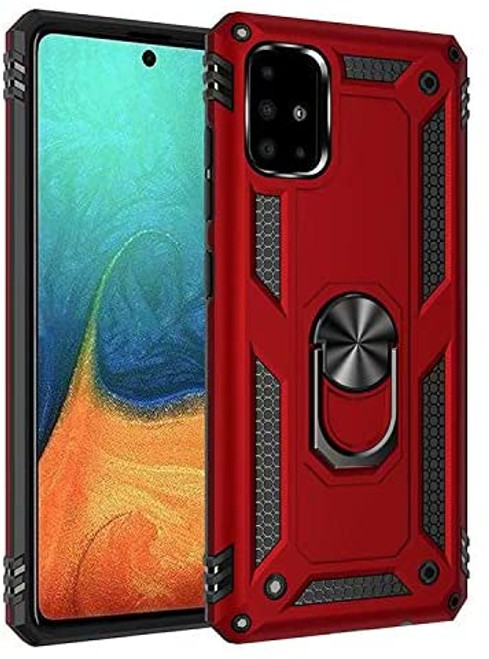 Red Galaxy A71 Slim Armor 360 Rotating Metal Ring Stand Case Cover - 1
