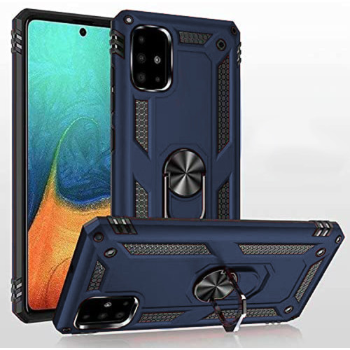 Navy Heavy Duty 360 Rotating Metal Ring Stand Case For Galaxy A51 - 1
