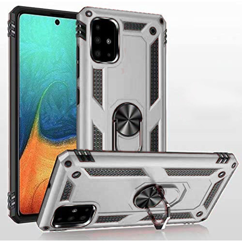 Silver Shock Proof 360 Rotating Metal Ring Stand Case For Galaxy A51 - 1