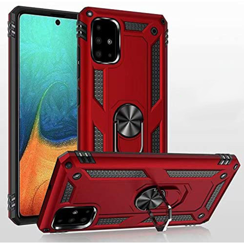 Red Galaxy A51 Slim Armor 360 Rotating Metal Ring Stand Case Cover - 1