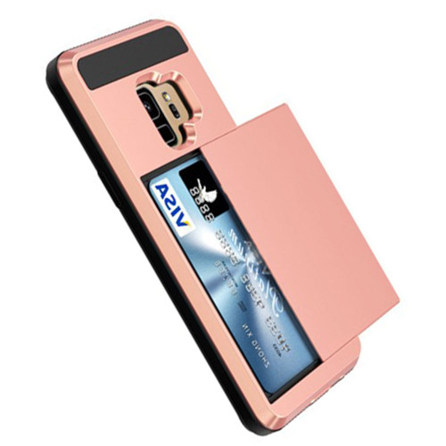 Rose Gold Samsung Galaxy S9+ Plus Slide Armor Card Holder Case - 1