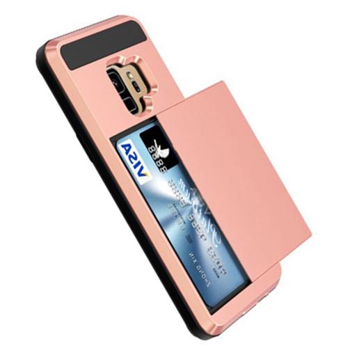 Rose Gold Samsung Galaxy S9+ Plus Slide Armor Card Holder Case - 1