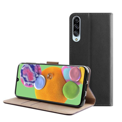 Black Genuine Leather Smart Wallet Case For Samsung Galaxy A71 - 1