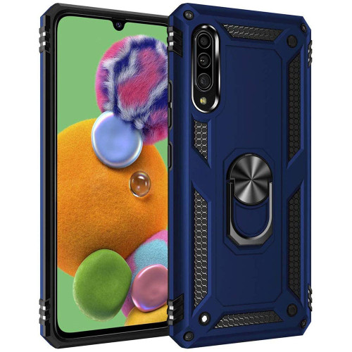 Navy Galaxy A90 5G Slim Armor 360 Rotating Metal Ring Stand Case - 1