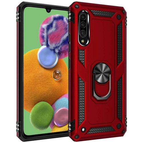 Red Slim Armor 360 Rotating Metal Ring Stand Case For Galaxy A90 5G - 1