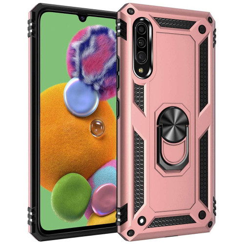 Rose Gold Galaxy A90 5G Heavy Duty 360 Rotating Metal Ring Stand Case - 1