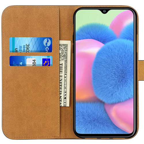 Black Genuine Leather Smart Wallet Case  For Samsung Galaxy A90 5G - 1