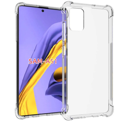 Clear Samsung Galaxy A51 Shock-Absorption Flexible Bumper Gel Case - 1