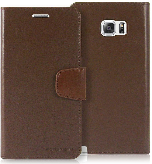 Brown Galaxy Note 5 Mercury Sonata Diary Card Slots Wallet Case - 1