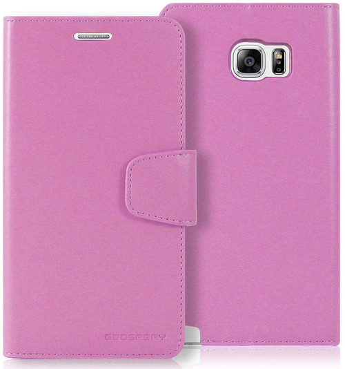 Purple Galaxy Note 5 Mercury Sonata Diary Card Slots Wallet Case - 1