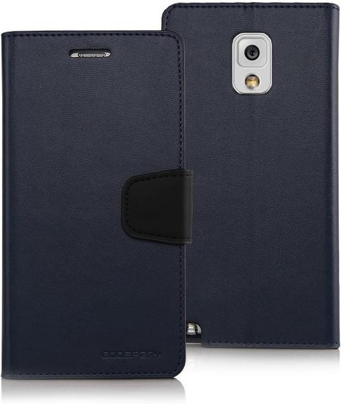 Black Galaxy Note 4 Mercury Sonata Diary Card Slots Wallet Case - 1