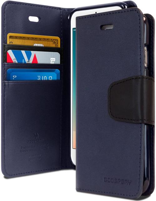 Navy iPhone 11 Pro Genuine Mercury Sonata Wallet Diary Case - 1