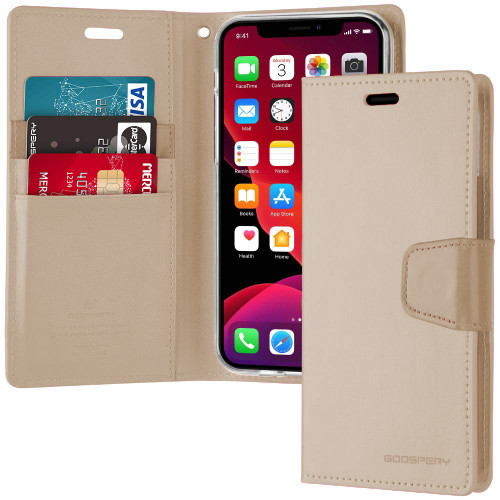 Shiny Gold Genuine Mercury Sonata Diary Wallet Case For iPhone 11 - 1