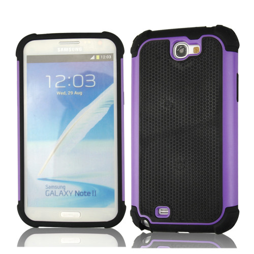 Purple Heavy Duty Protective Case For Samsung Galaxy Note 2 - 1