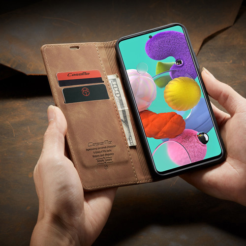 Brown Galaxy A11 CaseMe Compact Flip Classy Wallet Case - 1