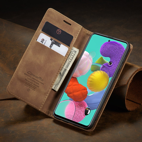 Brown Galaxy A51 CaseMe Compact Flip Classy Wallet Case - 1