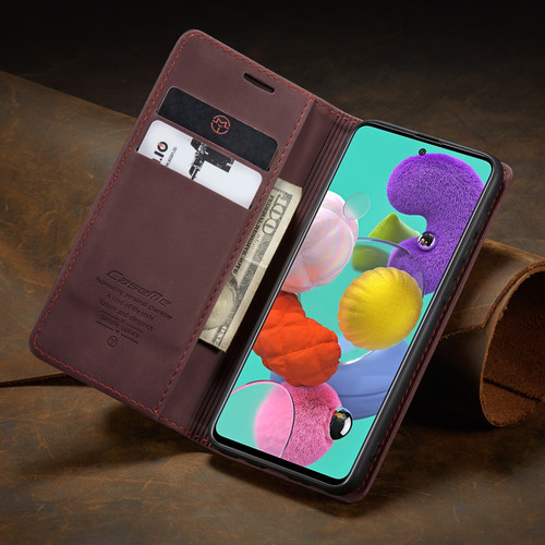 Classy Wine CaseMe Compact Flip Wallet Card Case For Galaxy A51 - 1