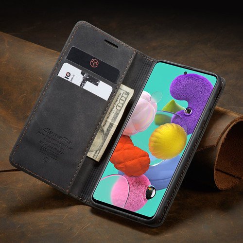 Black Galaxy A71 CaseMe Compact Flip Exceptional Wallet Case Cover - 5
