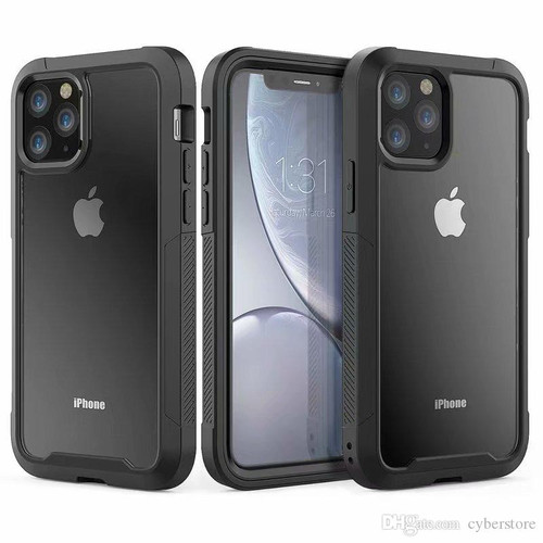 Black Clear Acrylic Heavy Duty Defender Case For iPhone 11 Pro Max - 1
