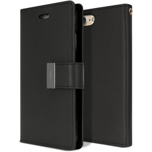 Premium iPhone SE 2020 Genuine Mercury Rich Diary Wallet Case - Black - 1