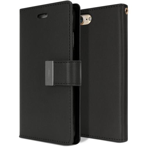 Premium iPhone SE 2020 Genuine Mercury Rich Diary Wallet Case - Black - 1