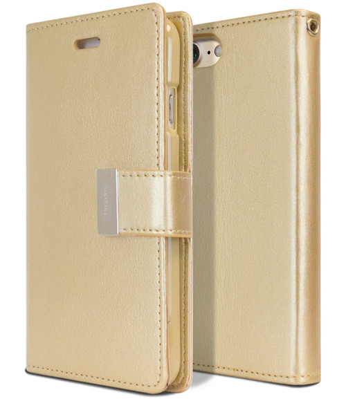 Stylish iPhone SE 2020 Genuine Mercury Rich Diary Wallet Case - Gold - 1