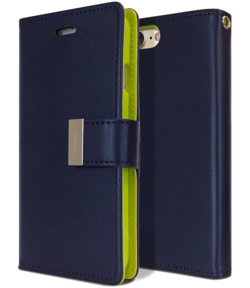 Navy Genuine Mercury Rich Diary Premium Wallet Case For iPhone SE 2020 - 1