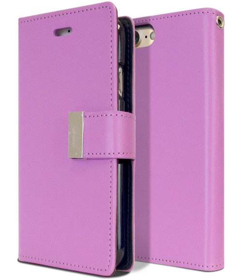 Stylish iPhone SE 2020 Genuine Mercury Rich Diary Wallet Case - Purple - 1