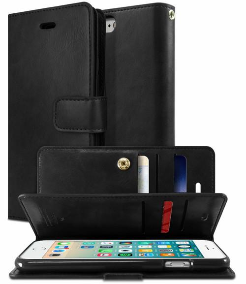 Black Genuine Mercury Mansoor Diary Wallet Case For iPhone SE 2020 - 1