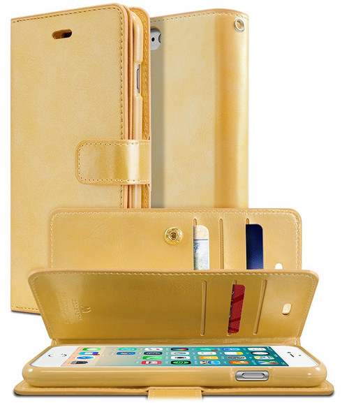 Gold iPhone SE 2020 Genuine Mercury Mansoor Diary Premium Wallet Case - 1