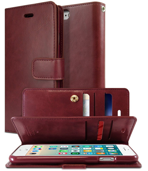 Classy Wine Genuine Mercury Mansoor Diary Wallet Case For iPhone SE 2020 - 1