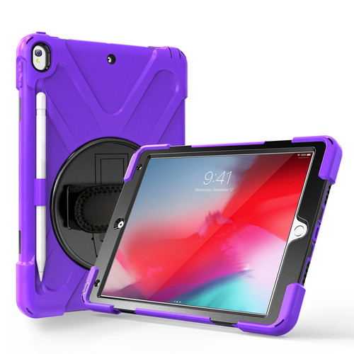 "Purple Apple iPad Air 3 10.5"" 2019 Shock Proof Shoulder Strap Case  - 1"